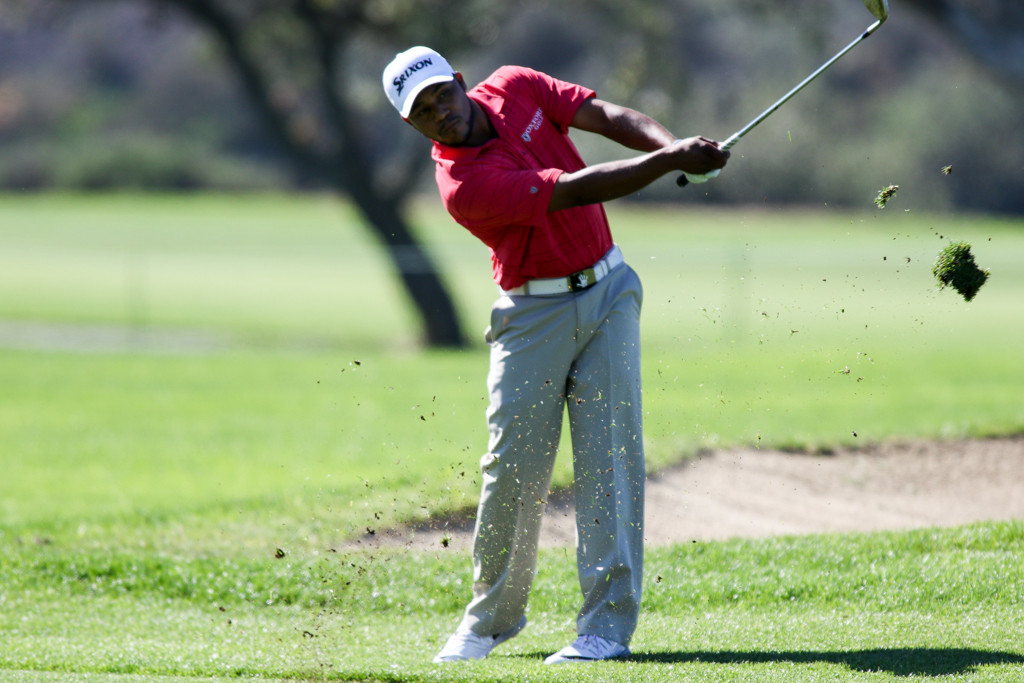 Harold Varner III hitting on 10th fairway North Course in the First round action of PGA Golf during the Farmers Insurance Open at Torrey Pines in San Diego, CA. (Photo by  Jevone Moore/Full Image 360)