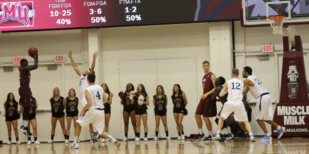 San Diego vs LMU game action at the Gersten Pavilion on Jan 23th, 2016. (Photo by Michael Ewing/fi360 News)