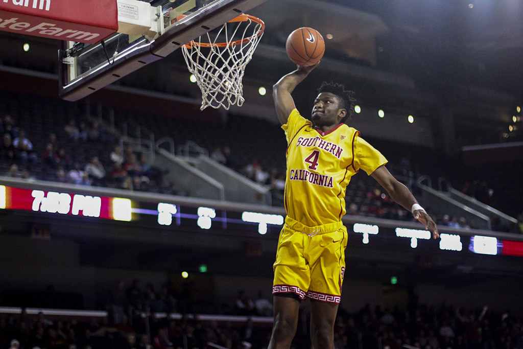 Chimezie Metu throwing down a dunk in the 2nd half of Washington State vs USC game at the Galen Center in Los Angeles, CA. (Photo by Michael Ewing/fi360 News)