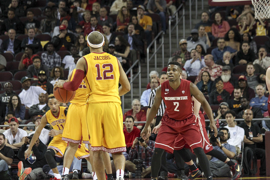 Point Guard Julian Jacobs surveying the floor during first half of the Washington State vs USC game at the Galen Center in Los Angeles, CA. (Photo by Michael Ewing/fi360 News)