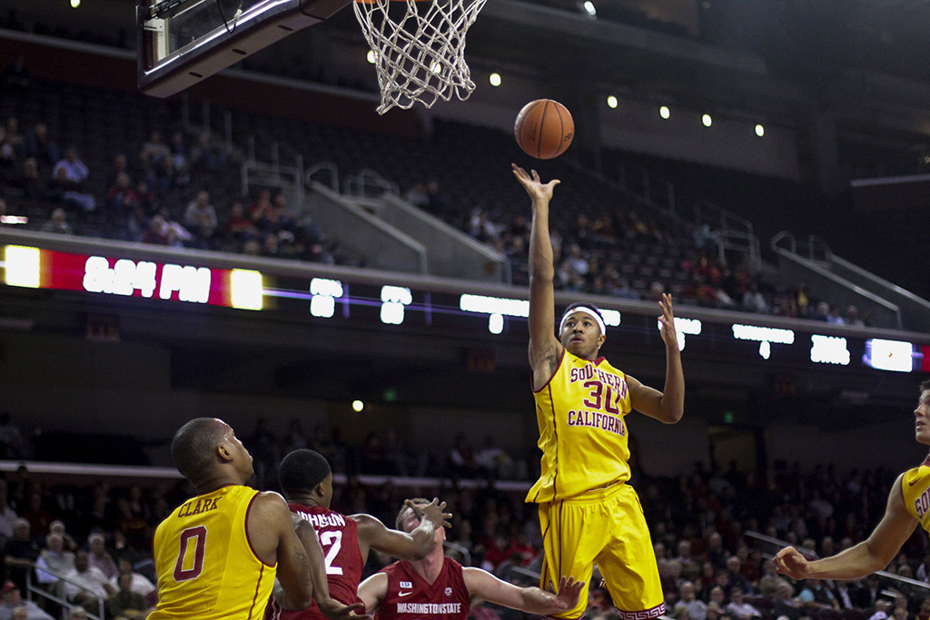 Elijah Stewart with a floater in the lane during second half of the Washington State vs USC game at the Galen Center in Los Angeles, CA. (Photo by Michael Ewing/fi360 News)