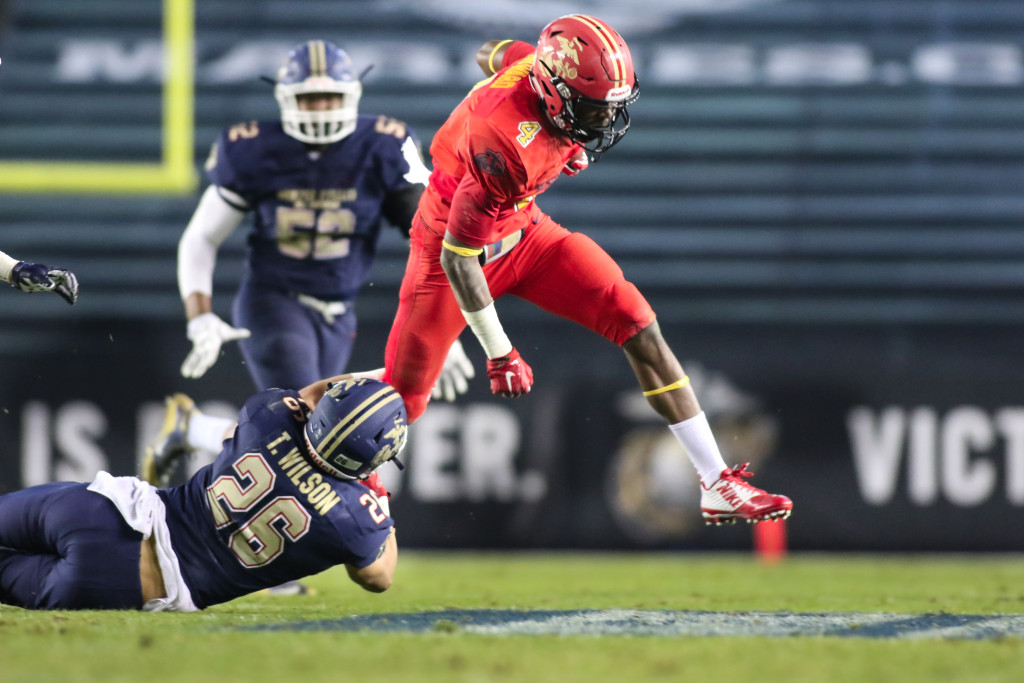 UCLA Commit (4) Theo Howard breaking tackle of East Tru Wilson (26) during 2nd half at The 5TH Annual SEMPER FIDELIS All-American Bowl 2016 at StubHub Center in Carson, CA. (Photo by Jevone Moore/fi360 News)