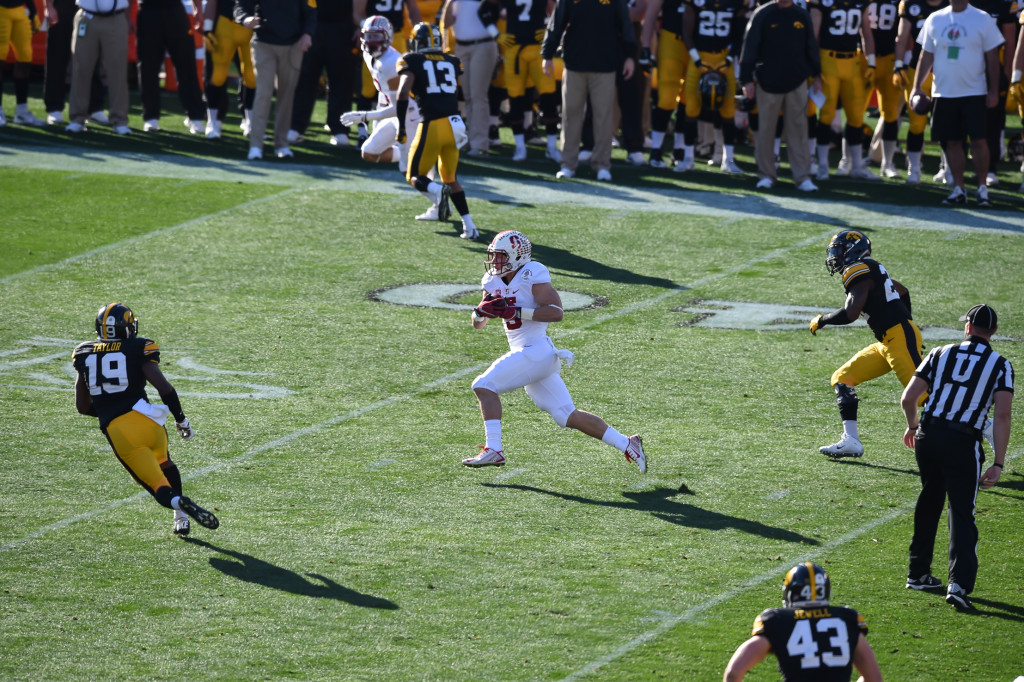 Stanford Cardinal running back Christian McCaffrey (5) on first touchdown catch of the game during the 102nd Rose Bowl Game Stanford Cardinals vs Iowa Hawkeyes 2016. (Photo by Jevone Moore/fi360 News)