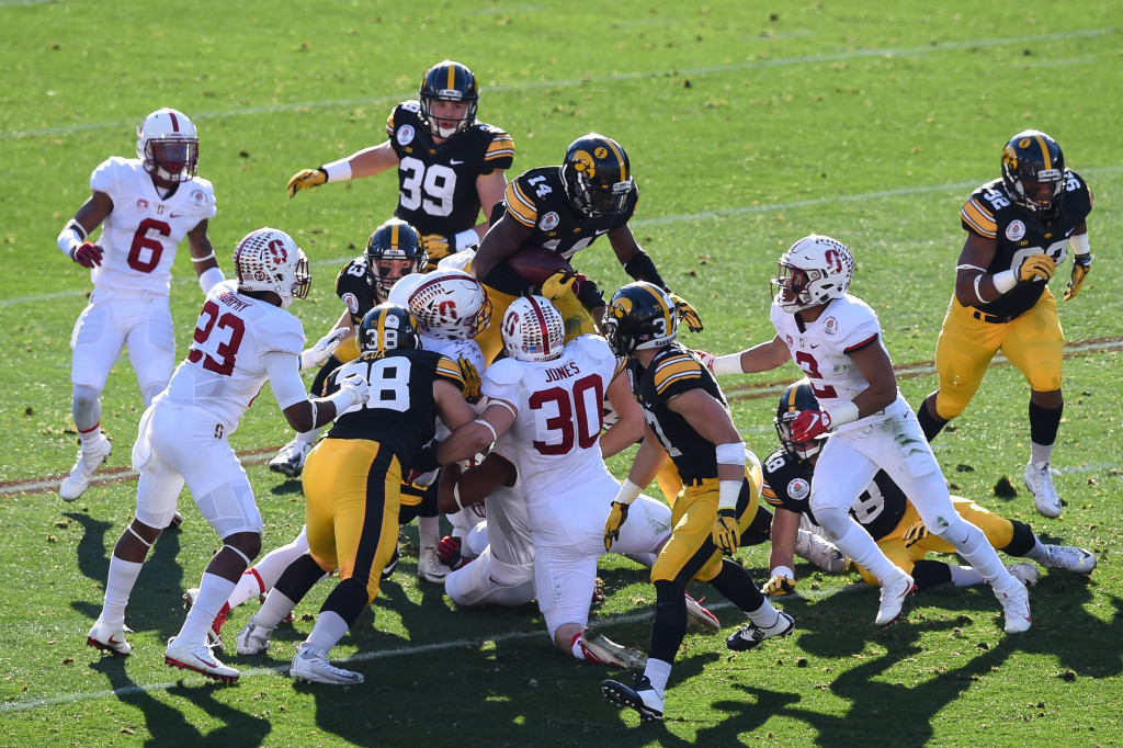 Iowa Hawkeyes defensive back Desmond King (14) on a kickoff return during the first quarter of the 102nd Rose Bowl Game Stanford Cardinals vs Iowa Hawkeyes   2016. (Photo by  Jevone Moore/fi360 News)