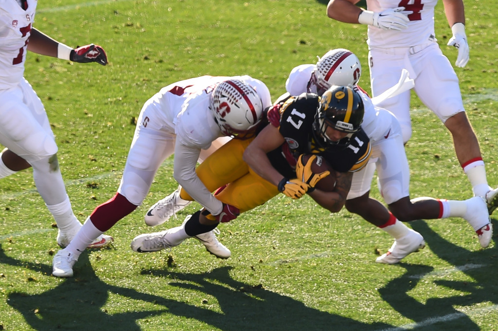 Iowa Hawkeyes wide receiver Jacob Hillyer (17) with a first quarter reception during the 102nd Rose Bowl Game Stanford Cardinals vs Iowa Hawkeyes 2016. (Photo by Jevone Moore/fi360 News)