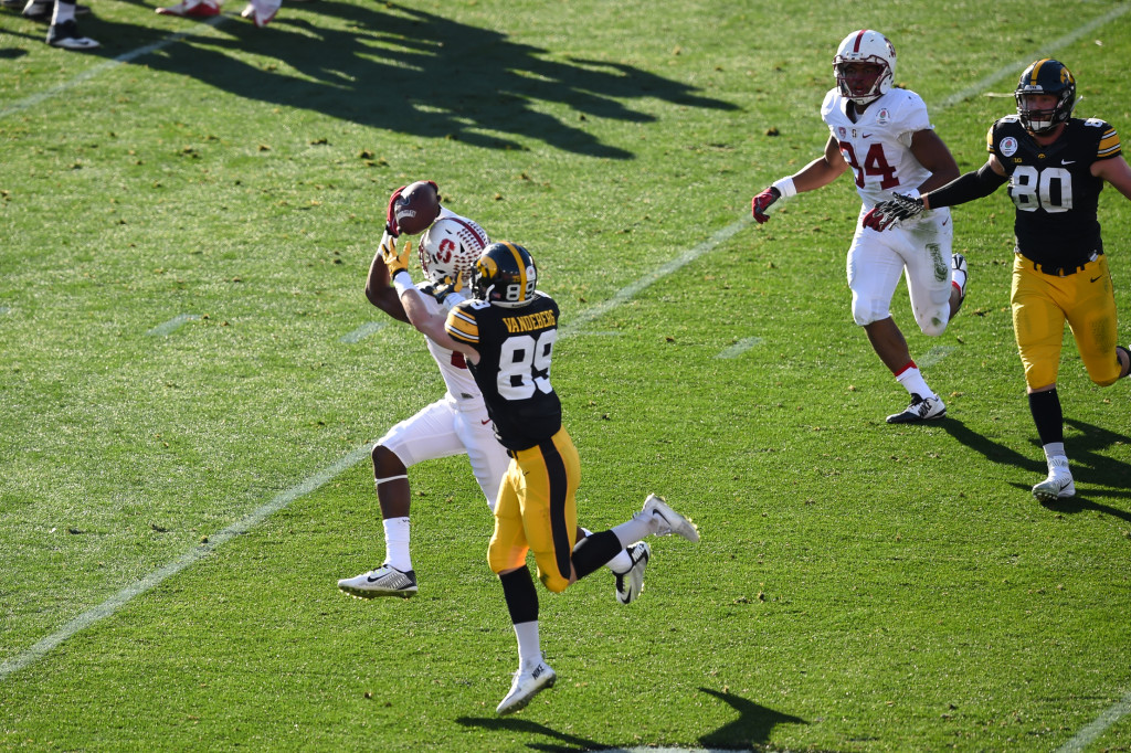 Stanford Cardinal cornerback Quenton Meeks (24) with interception for touchdown in 1st qtr. during the 102nd Rose Bowl Game Stanford Cardinals vs Iowa Hawkeyes 2016. (Photo by Jevone Moore/fi360 News)
