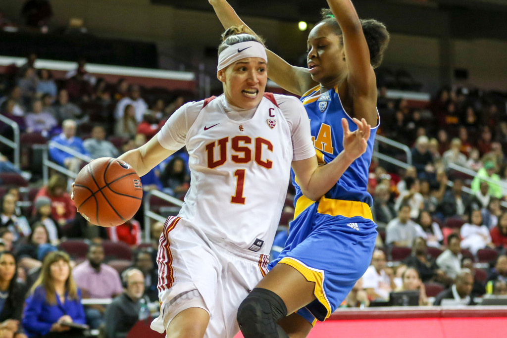USC Guard Jordan Adams on a drive to the basket during the college basketball game between the UCLA Bruins and the USC Trojans at Galen Center in Los Angeles, CA. (Photo by  Jevone Moore/Full Image 360)