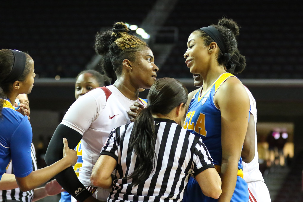 NCAA Women's College Basketball first half game action during the college basketball game between the UCLA Bruins and the USC Trojans at Galen Center in Los Angeles, CA. (Photo by Jevone Moore/Full Image 360