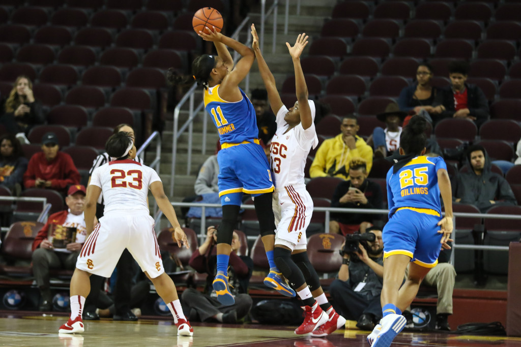 UCLA Lajahna Drummer on the jumpshot for two during the first half of the college basketball game between the UCLA Bruins and the USC Trojans at Galen Center in Los Angeles, CA. (Photo by  Jevone Moore/Full Image 360)