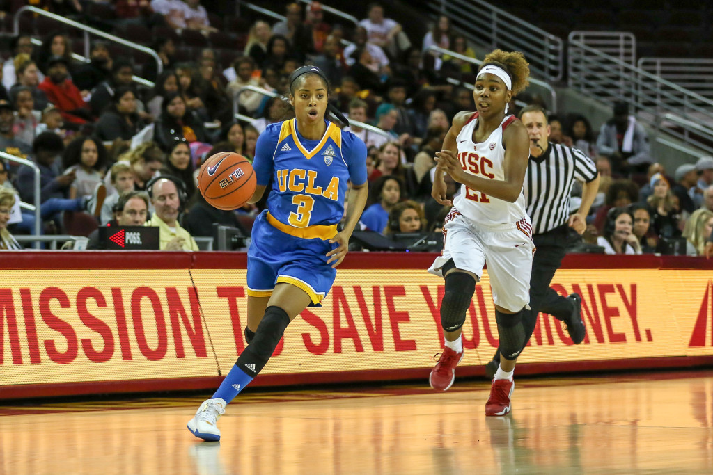 UCLA Guard Jordin Canada on the break during the second half the college basketball game between the UCLA Bruins and the USC Trojans at Galen Center in Los Angeles, CA. (Photo by Jevone Moore/Full Image 360)