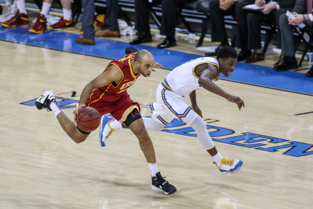 NCAA College Basketball first half game action during the college basketball game between the USC Trojans and the UCLA Bruins at Pauley Pavilion in Los Angeles, CA. (Photo by Jevone Moore/Full Image 360)