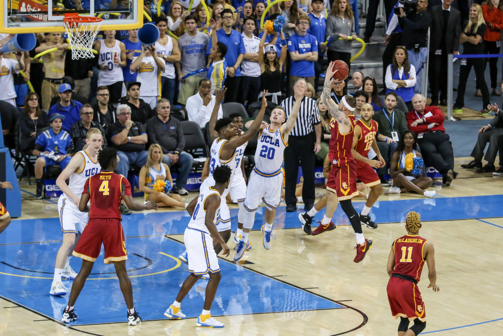 NCAA College Basketball USC Trojans guard Katin Reinhardt (5) showing air time on a jumper in the second half game action during the college basketball game between the USC Trojans and the UCLA Bruins at Pauley Pavilion in Los Angeles, CA. (Photo by Jevone Moore/Full Image 360)