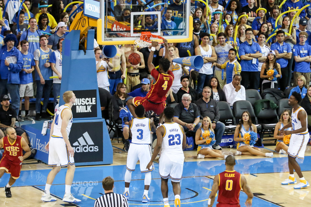 NCAA College Basketball USC Trojans forward Chimezie Metu (4) throwing down a moster dunk in the second half during the college basketball game between the USC Trojans and the UCLA Bruins at Pauley Pavilion in Los Angeles, CA. (Photo by  Jevone Moore/Full Image 360)