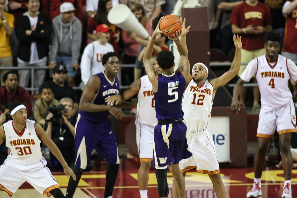 Washington Huskies guard Dejounte Murray (5) on jumper in the lane during the college basketball game between the Washington Huskies and the USC Trojans at Galen Center in Los Angeles, CA. (Photo by Jevone Moore/Full Image 360)