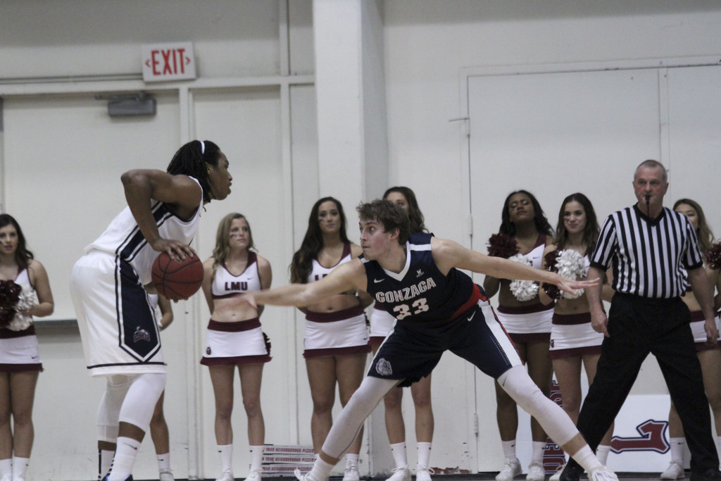 LMU Adom Jacko during the Gonzaga vs LMU game action at the Gersten Pavilion on Jan 23th, 2016. (Photo by Michael Ewing/fi360 News)