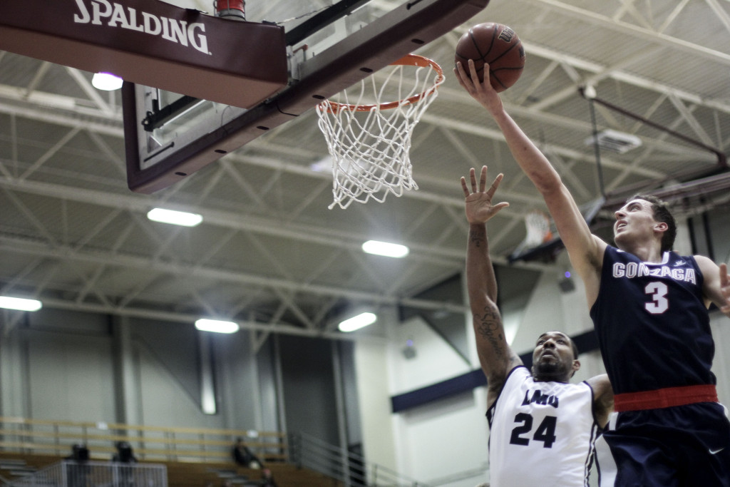 Live game action during the Gonzaga vs LMU game action at the Gersten Pavilion on Feb 4th, 2016. (Photo by Michael Ewing/fi360 News)
