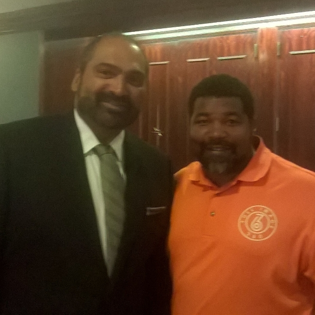 Pittsburgh Steelers Franco Harris with Jevone Moore of fi360 News at Harold Pump Awards 2015. (Photo by Full Image 360)