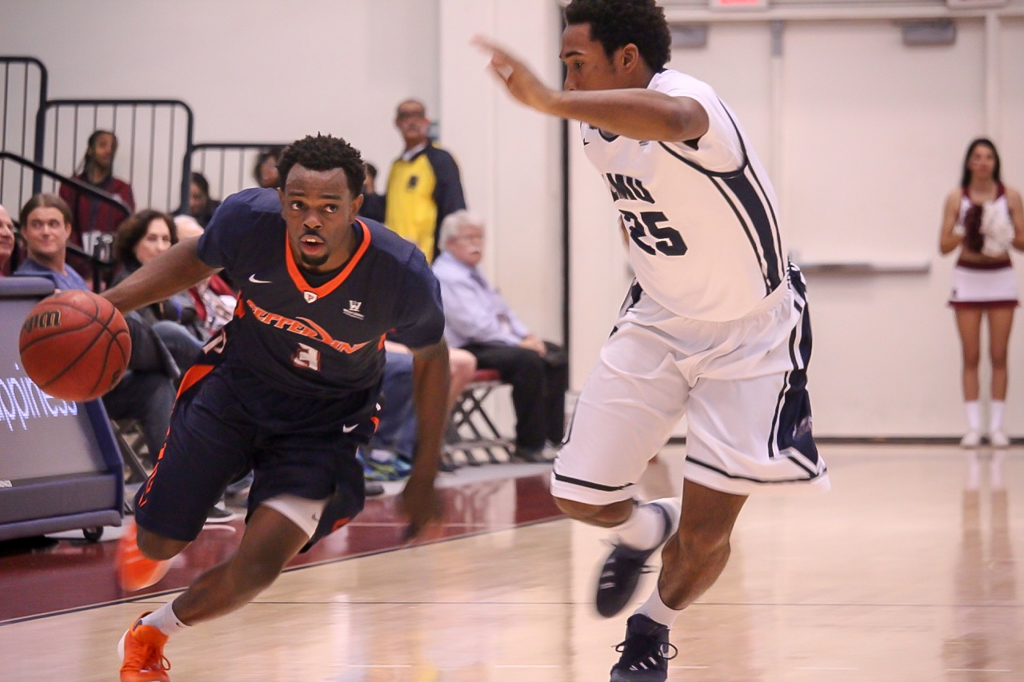 Jeremy Major coming down court during Pepperdine vs LMU game action at the Gersten Pavilion on Feb 27th, 2016. (Photo by Reynaldo Macias / fi360 News)