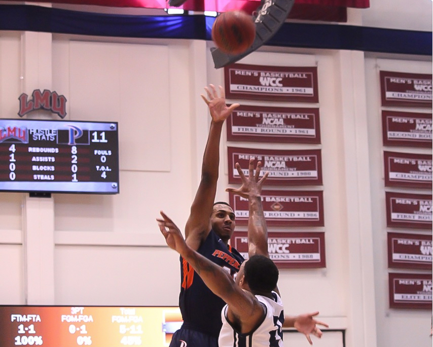Pepperdine Lamond Murray Jr shooting during Pepperdine vs LMU game action at the Gersten Pavilion on Feb 27th, 2016. (Photo by Reynaldo Macias / fi360 News)