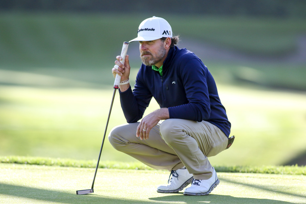 February 19, 2016: Justin Leonard second round action of PGA Golf during the Northern Trust Open at The Riviera Country Club in Los Angeles, CA. (Photo by Jevone Moore/Full Image 360)