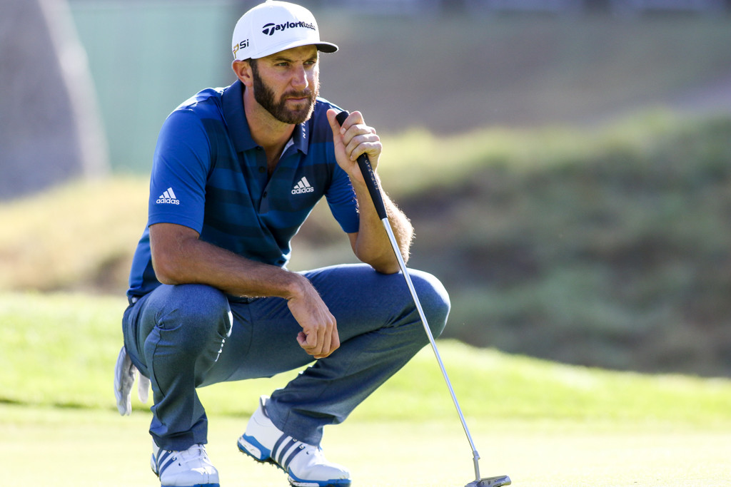 February 19, 2016: Dustin Johnson second round action of PGA Golf during the Northern Trust Open at The Riviera Country Club in Los Angeles, CA. (Photo by Jevone Moore/Full Image 360)