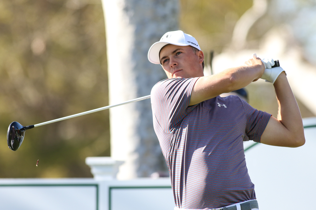 February 19, 2016: Jordan Spieth second round action of PGA Golf during the Northern Trust Open at The Riviera Country Club in Los Angeles, CA. (Photo by Jevone Moore/Full Image 360)
