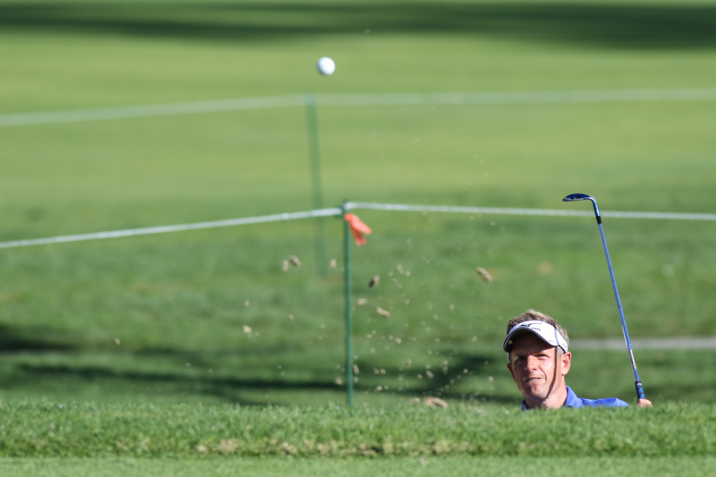 February 19, 2016: Luke Donald second round action of PGA Golf during the Northern Trust Open at The Riviera Country Club in Los Angeles, CA. (Photo by Jevone Moore/Full Image 360)