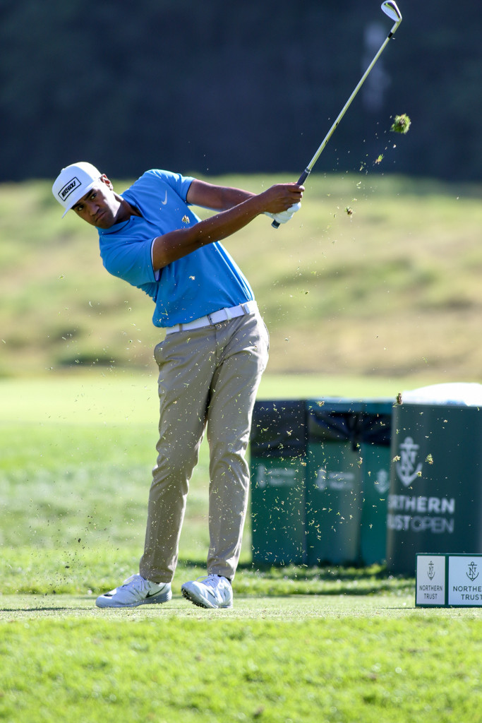 February 19, 2016: Tony Finau second round action of PGA Golf during the Northern Trust Open at The Riviera Country Club in Los Angeles, CA. (Photo by Jevone Moore/Full Image 360)