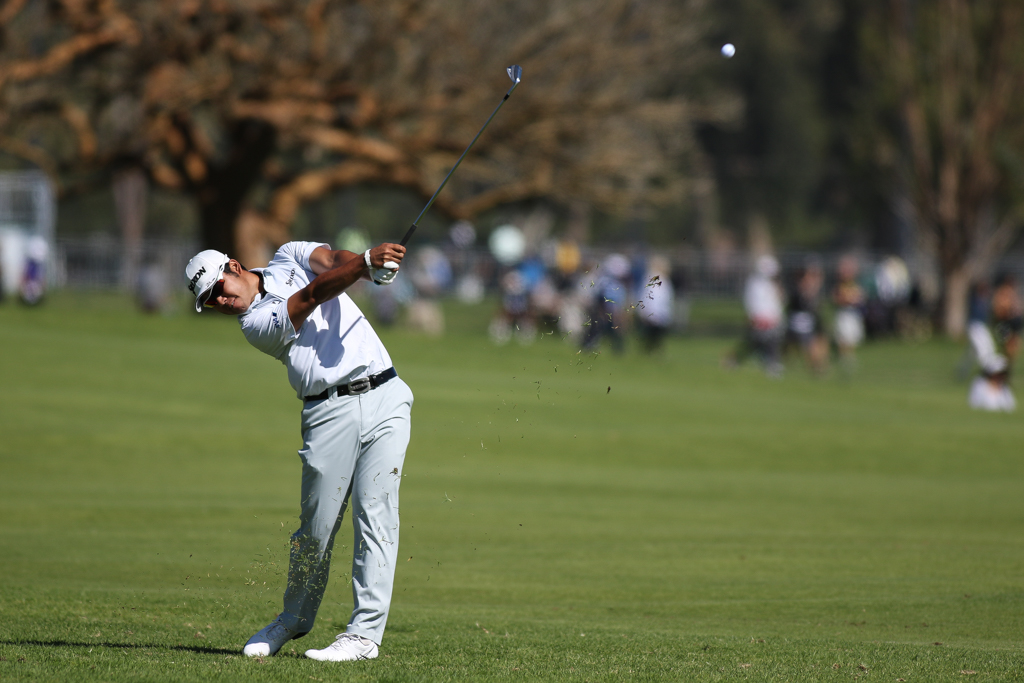 February 19, 2016: Hideki Matsuyama second round action of PGA Golf during the Northern Trust Open at The Riviera Country Club in Los Angeles, CA. (Photo by Jevone Moore/Full Image 360)