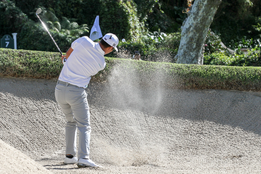 February 19, 2016: James Hahn second round action of PGA Golf during the Northern Trust Open at The Riviera Country Club in Los Angeles, CA. (Photo by  Jevone Moore/Full Image 360)