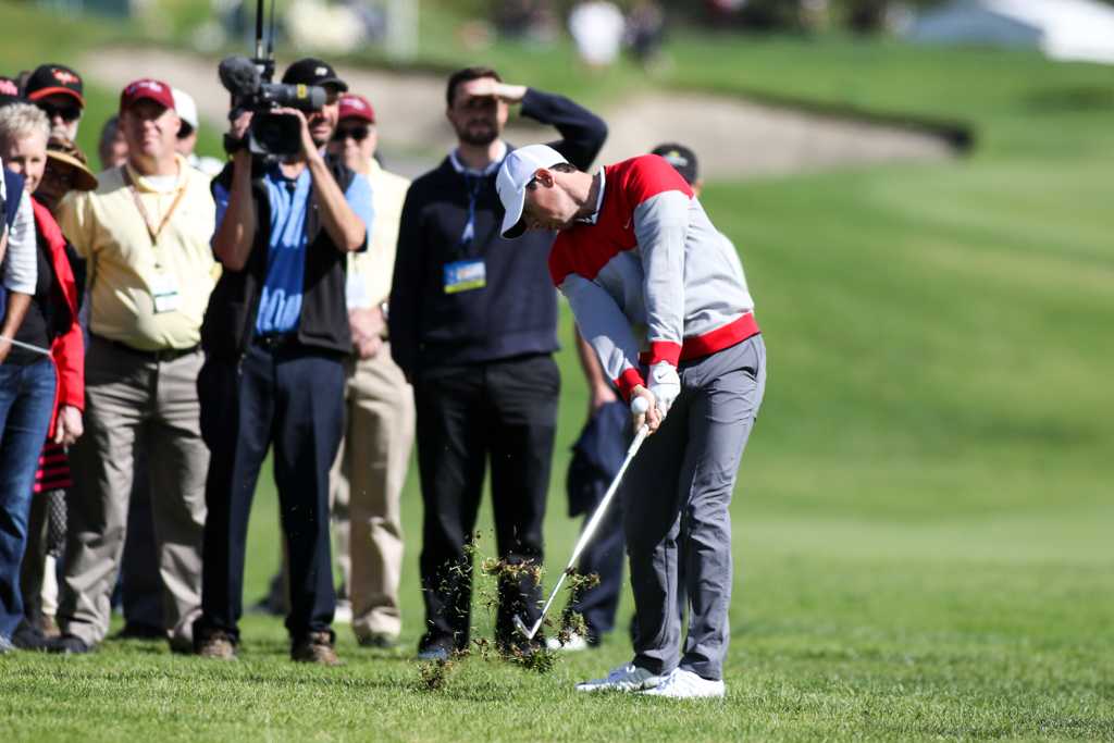 February 18, 2016: Rory Mcilroy first round action of PGA Golf during the Northern Trust Open at The Riviera Country Club in Los Angeles, CA. (Photo by Jevone Moore/Full Image 360)