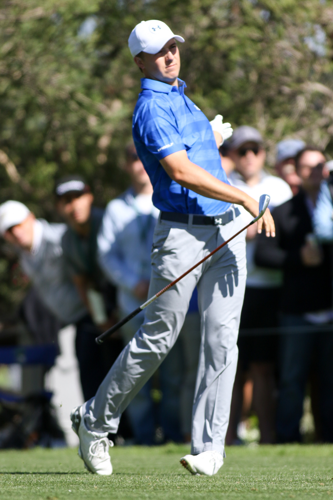February 18, 2016: Jordan Spieth round action of PGA Golf during the Northern Trust Open at The Riviera Country Club in Los Angeles, CA. (Photo by Jevone Moore/Full Image 360)