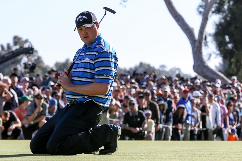 February 21, 2016: Jason Kokrak on 18th green after missing his birdie put during the final round action of PGA Golf during the Northern Trust Open at The Riviera Country Club in Los Angeles, CA. (Photo by  Jevone Moore/Full Image 360)