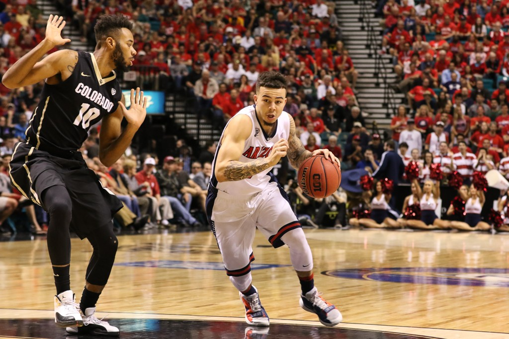 NCAA College Basketball Gabe York driving in the paint in the first half game action during the college basketball game between Arizona Wildcats and the Colorado Buffaloes at MGM Grand Las Vegas, NV. (Photo by Jevone Moore/Full Image 360)