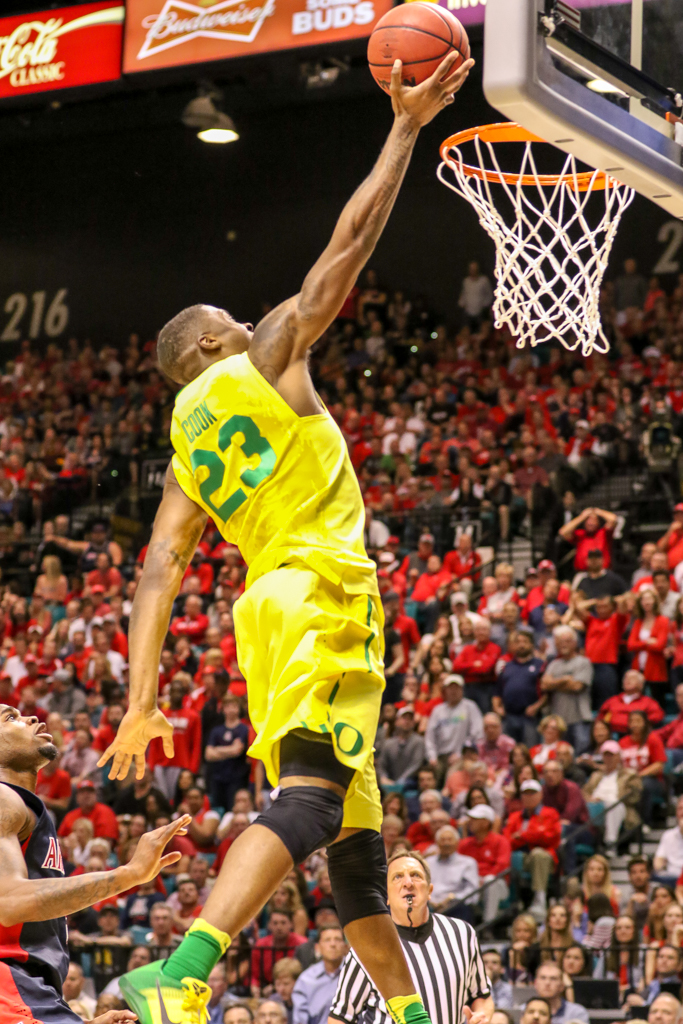 NCAA College Basketball game Elgin Cook dunking during the 2016 PAC-12 Basketball Tournament semifinalsl game between the Oregon Ducks and the Arizona Wildcats at MGM Grand Las Vegas, NV. (Photo by Jevone Moore/Full Image 360)