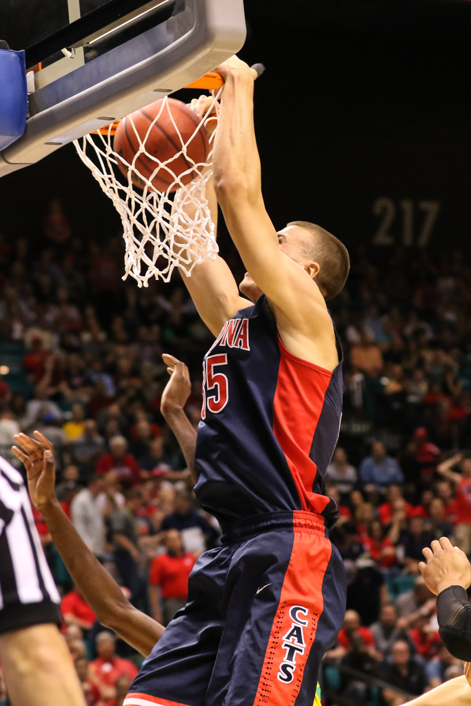 NCAA College Basketball game Kaleb Tarczewski dunking during the 2016 PAC-12 Basketball Tournament semifinalsl game between the Oregon Ducks and the Arizona Wildcats at MGM Grand Las Vegas, NV. (Photo by Jevone Moore/Full Image 360)