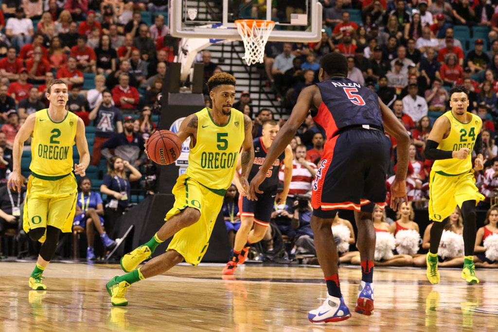 NCAA College Basketball game action during the 2016 PAC-12 Basketball Tournament semifinalsl game between the Oregon Ducks and the Arizona Wildcats at MGM Grand Las Vegas, NV. (Photo by Jevone Moore/Full Image 360)