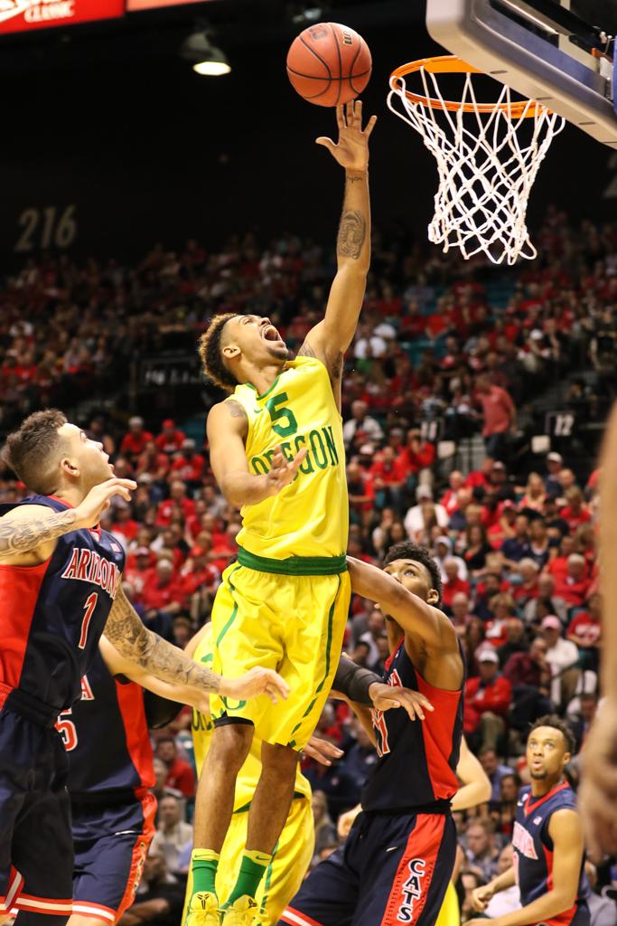 NCAA College Basketball game Tyler Dorsey going to the rack during the 2016 PAC-12 Basketball Tournament semifinalsl game between the Oregon Ducks and the Arizona Wildcats at MGM Grand Las Vegas, NV. (Photo by Jevone Moore/Full Image 360)