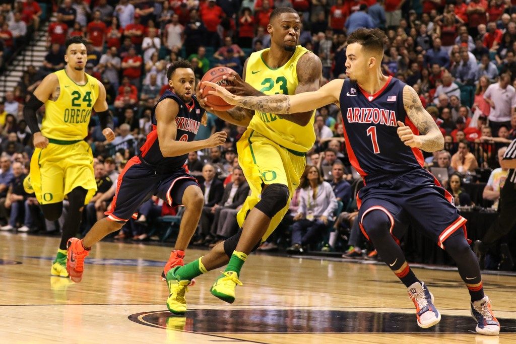 NCAA College Basketball game Elgin Cook driving hard to the basket during the 2016 PAC-12 Basketball Tournament semifinalsl game between the Oregon Ducks and the Arizona Wildcats at MGM Grand Las Vegas, NV. (Photo by Jevone Moore/Full Image 360)