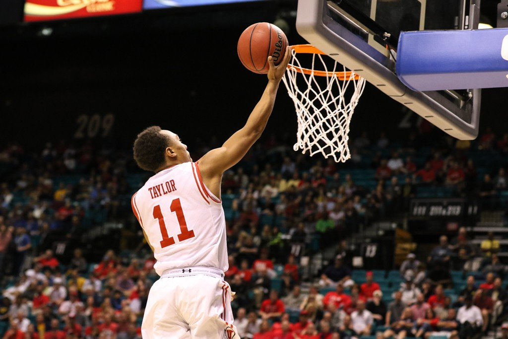 NCAA College Basketball second half game Brandon Taylor finishing at the rim during the 2016 PAC-12 Basketball Tournament semifinalsl game between the Utah Utes and the Cal Bears at MGM Grand Las Vegas, NV. (Photo by Jevone Moore/Full Image 360)