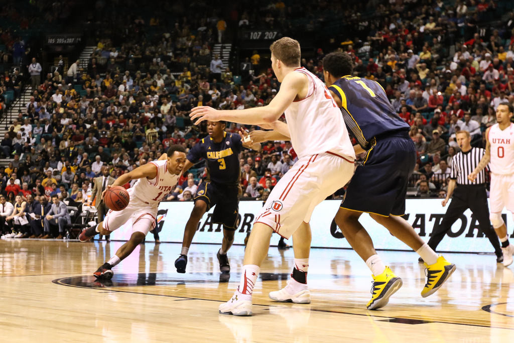 NCAA College Basketball second half game action during the 2016 PAC-12 Basketball Tournament semifinalsl game between the Utah Utes and the Cal Bears at MGM Grand Las Vegas, NV. (Photo by Jevone Moore/Full Image 360)