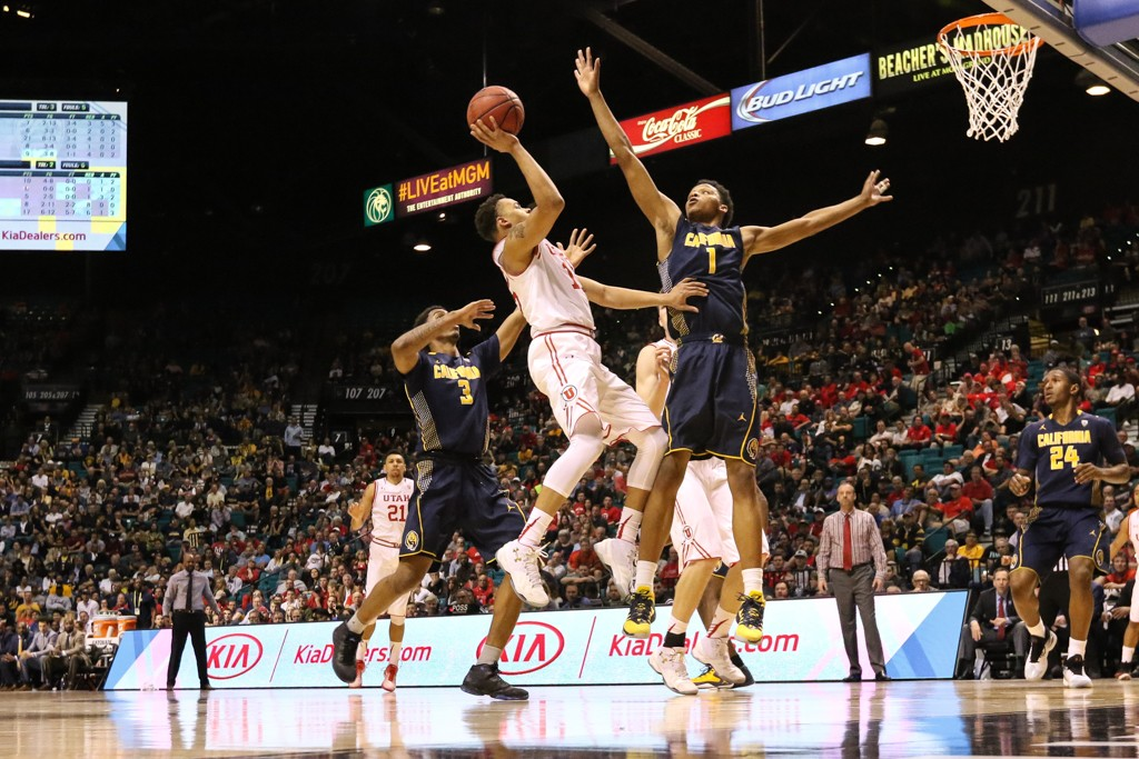 NCAA College Basketball second half game Lorenzo Bonam with a floater in the lane during the 2016 PAC-12 Basketball Tournament semifinalsl game between the Utah Utes and the Cal Bears at MGM Grand Las Vegas, NV. (Photo by Jevone Moore/Full Image 360)