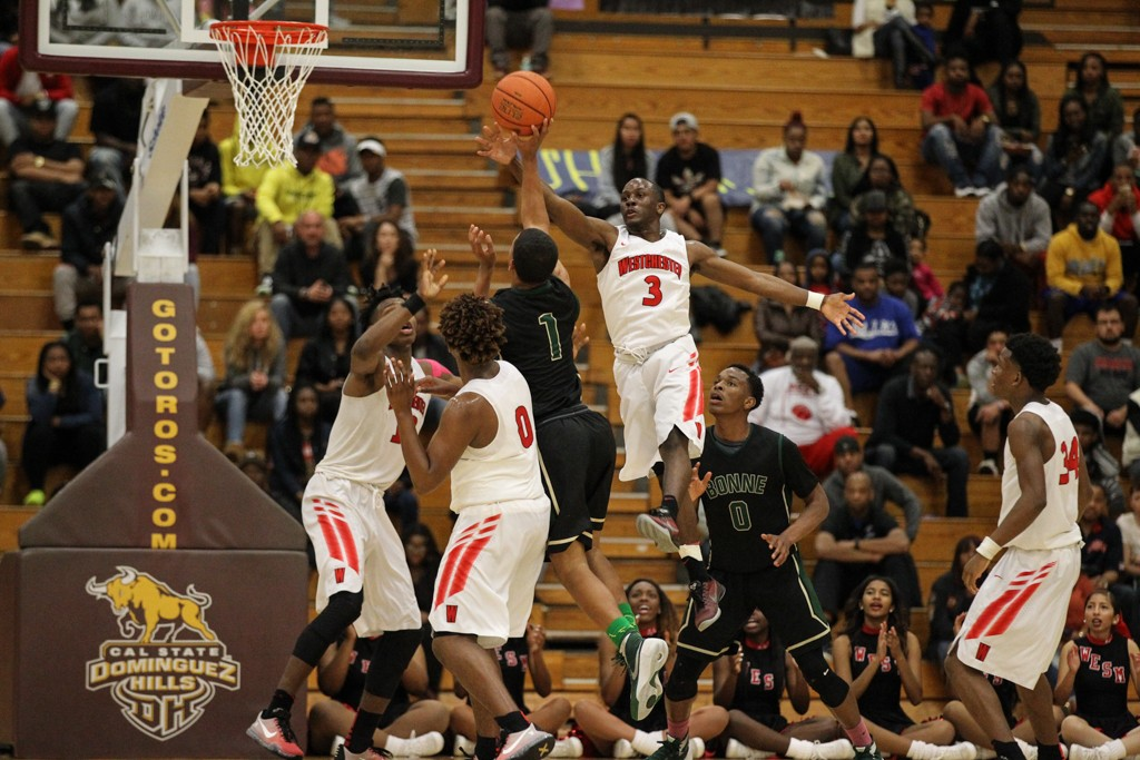 March 5th, 2016: Terrell Waiters (3) getting the jump on Jamal Hicks during the Boys Open Division Basketball Championship at Cal State Dominguez Hills in Carson, CA. (Photo by Jevone Moore/Full Image 360)