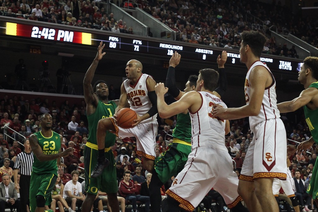 Oregon vs USC game action at the Galen Center on March 5th, 2016. (Photo by  Reynaldo Macias / fi360 News)