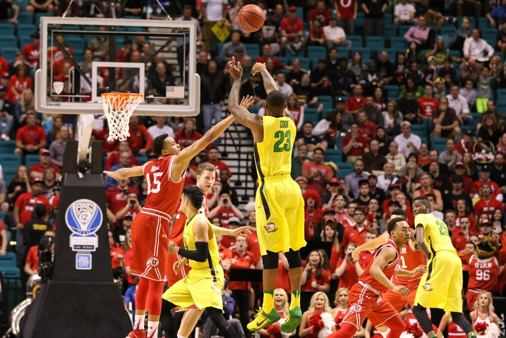 NCAA College Basketball 2016 PAC-12 Basketball Tournament Championship Elgin Cook Tournament MVP on 3 pointer between the Utah Utes and the Oregon Ducks at MGM Grand Garden Arena in Las Vegas, NV. (Photo by  Jevone Moore/Full Image 360)