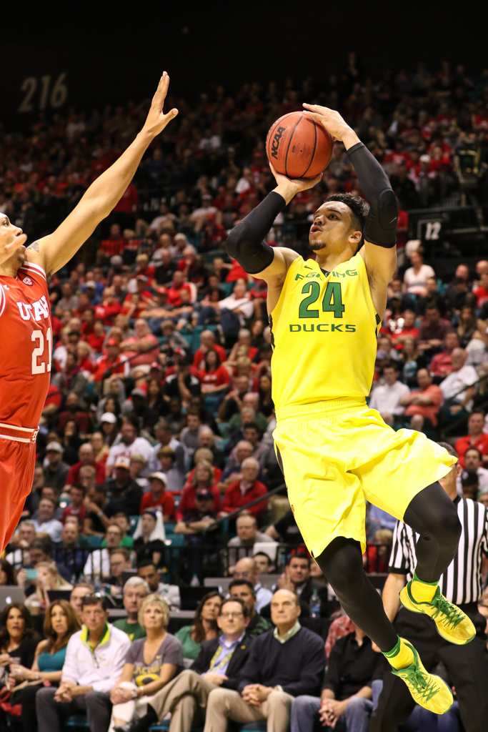 NCAA College Basketball 2016 PAC-12 Basketball Tournament Championship game between the Utah Utes and the Oregon Ducks at MGM Grand Garden Arena in Las Vegas, NV. (Photo by Jevone Moore/Full Image 360)