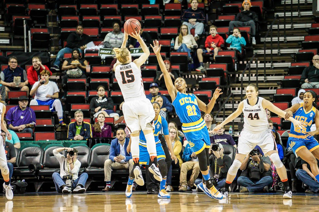 Jamie Weisner with a jumper during WBB Pac-12 Championship game between UCLA vs Oregon State at Key Arena in Seattle, Washington on March 6, 2016. (Photo by Geoff Vlcek Photography / fi360 News)