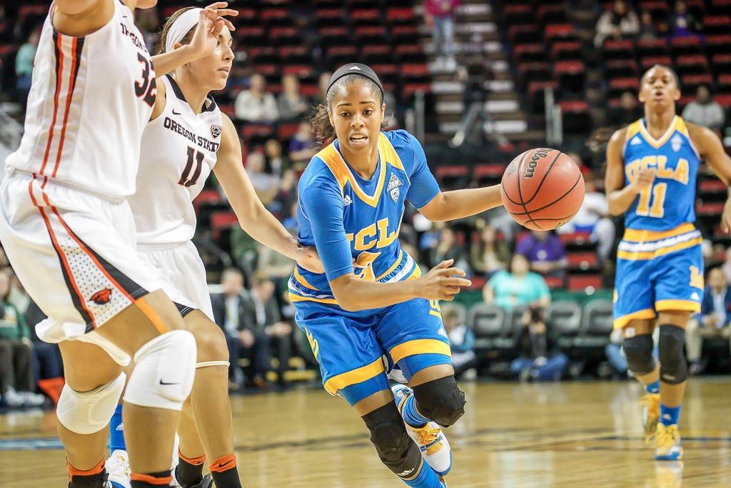 Jordin Canada looking for space during WBB Pac-12 Championship game between UCLA vs Oregon State at Key Arena in Seattle, Washington on March 6, 2016. (Photo by Geoff Vlcek Photography / fi360 News)