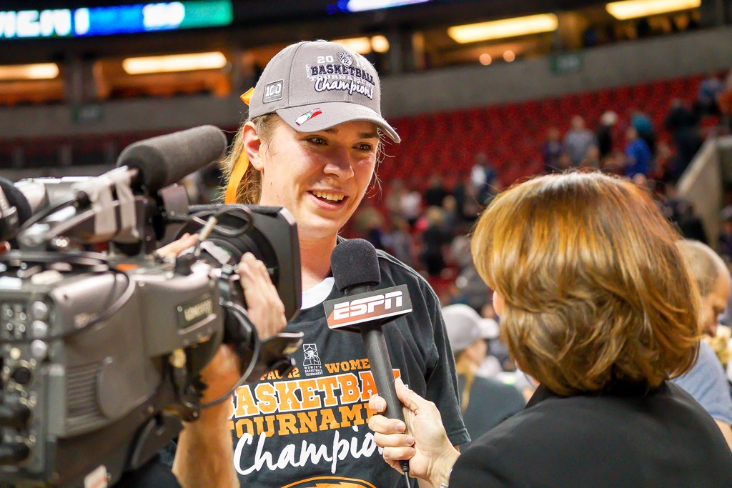 Ruth Hamblin talking to ESPN after the Win at  WBB Pac-12 Championship game between UCLA vs Oregon State at Key Arena in Seattle, Washington on March 6, 2016. (Photo by Geoff Vlcek Photography / fi360 News)