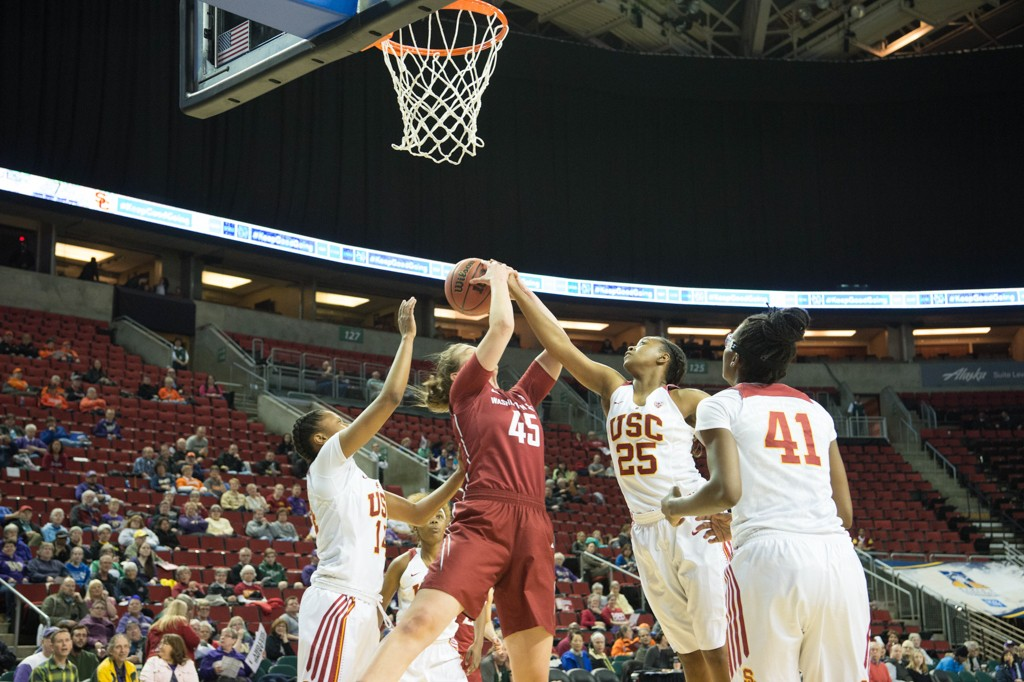 WBB Pac-12 Tournament game between Washington State vs USC at Key Arena in Seattle, Washington on March 3, 2016. (Photo by Rick May Vision Photography / fi360 News)